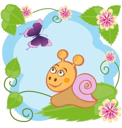 Snail and butterfly among flowers vector