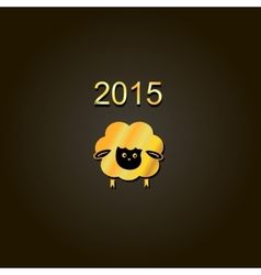New year lamb golden design symbol of 2015 sheep vector