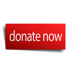 Donate now red square isolated paper sign on white vector