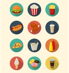 Fast food icons set modern flat design healthy vector