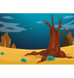 A desert with a big tree vector
