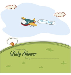 Baby shower card with cute plane vector