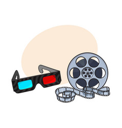 blue-red stereoscopic 3d glasses and cinema film vector image vector image
