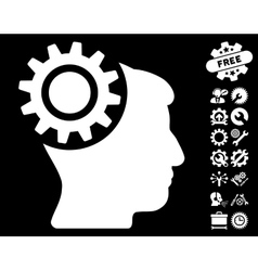 Brain gear icon with tools bonus vector