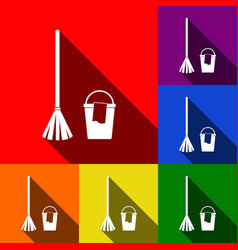 broom and bucket sign set of icons with vector image