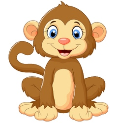 Cartoon cute monkey sitting vector image vector image