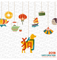 Chinese new year 2018 dog decoration greeting card vector