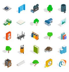Cozy places icons set isometric style vector