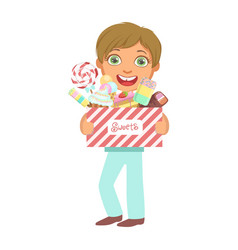 cute little boy carrying a box of sweets a vector image vector image
