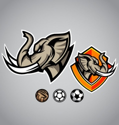 elephant head emblem logo football vector image vector image