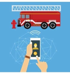 emergency mobile phone call fire truck fireman vector image vector image