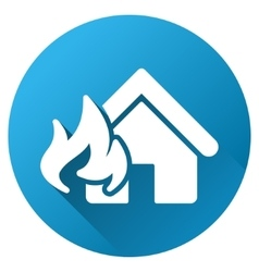 Fire realty damage gradient round icon vector