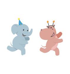 flat elephant hippo character fun running vector image