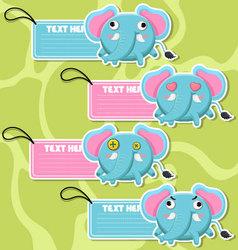 Four cute cartoon Elephants stickers vector image vector image