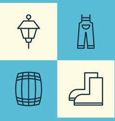 Gardening icons set collection of lantern cask vector