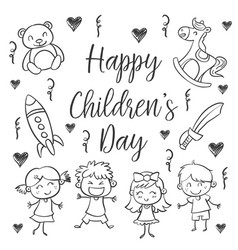 hand draw childrens day style vector image