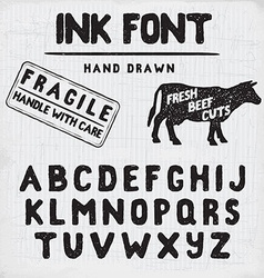 Hand made ink stamp font handwritten alphabet vector