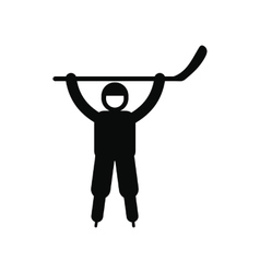 Happy hockey player icon vector