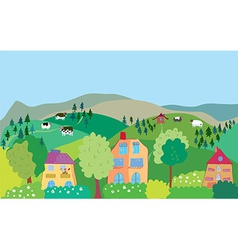 Landscape with mountain hills cows trees village vector image
