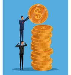 Men cooperation business pile coins vector