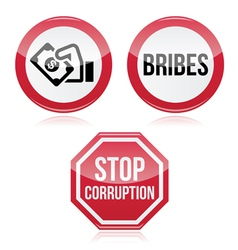 No bribes sto corruption red warning sign vector image vector image