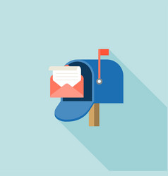 Open mail box with envelope and message vector