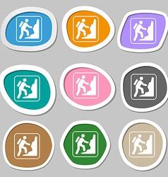 Rock climbing symbols multicolored paper stickers vector