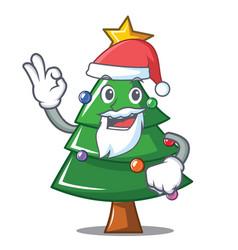 Santa christmas tree character cartoon vector