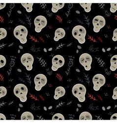 Seamless pattern skulls on a black vector