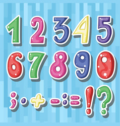 set of cute childish cartoon colored numbers i vector image