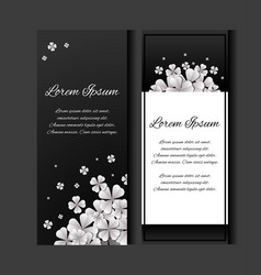 set of flyers with paper sakura flowers on a vector image vector image