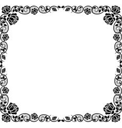 silhouette frame roses vector image vector image