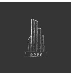 Skyscraper office building Drawn in chalk icon vector image vector image