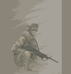 soldier in combat position vector image vector image