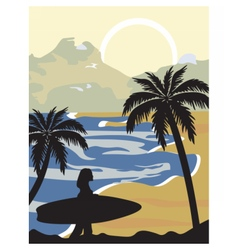Summer beach with silhouette vector