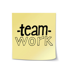 Teamwork lettering on sticky note vector