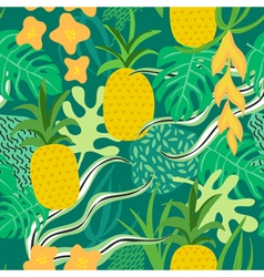 Tropical flowers and leaves pattern pineapples vector