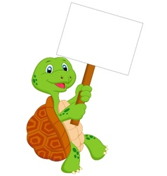 Turtle cartoon holding blank sign vector image