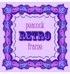 Violet frame with painted peacock feathers and vector