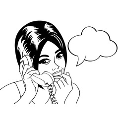 woman chatting on the phone pop art in black and w vector image vector image
