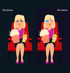 woman sitting in the cinema and watching a movie vector image