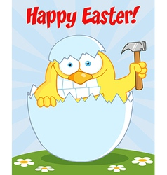 Yellow Easter Chick Holding A Hammer vector image