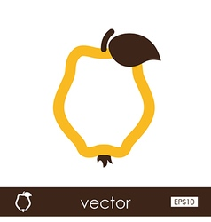 Quince outline icon tropical fruit vector