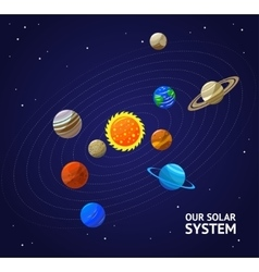 Solar system planets and sun vector