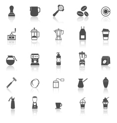 Barista icon with reflect on white background vector