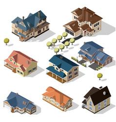 Isometric High Quality City Street Urban Buildings vector image