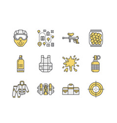 paintball game line icons outdoor sport equipment vector image