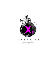 X letter logo design with ink cloud texture vector