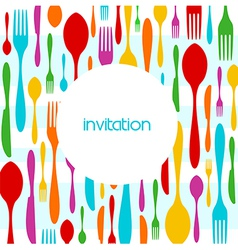 Cutlery colorful pattern invitation vector image