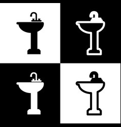 Bathroom sink sign  black and white icons vector